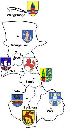 Karte des Landkreises Friesland und seiner Städte und Gemeinden